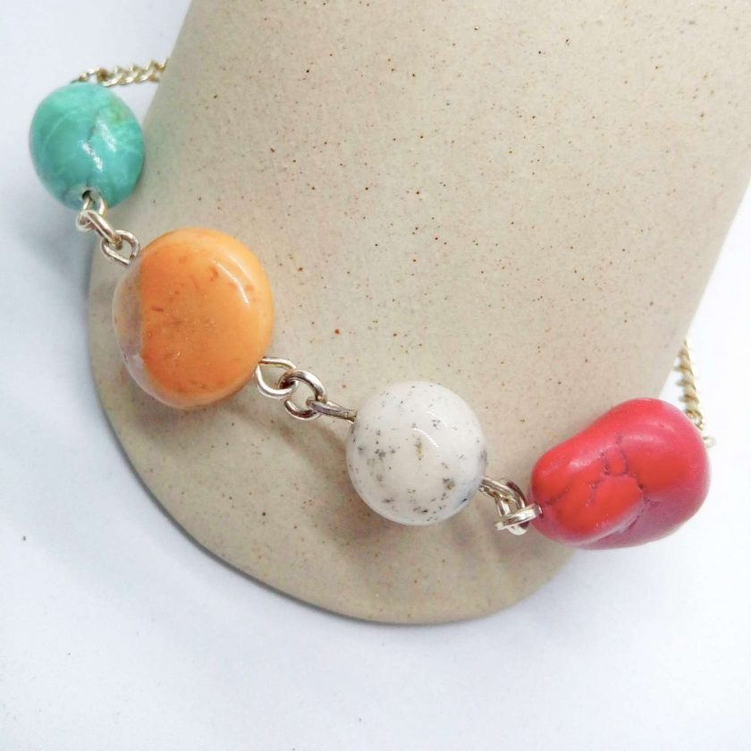Semi Precious Bead and Silver Plated Chain Elements Bracelet with Safety Chain, Gift for Her 1