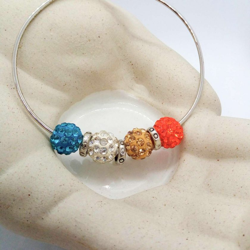 Red Mocha White Teal Shamballa Bead Bracelet with Silver Plated Spacers, Gift for Her 4