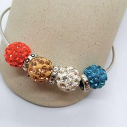 Red Mocha White Teal Shamballa Bead Bracelet with Silver Plated Spacers, Gift for Her 10