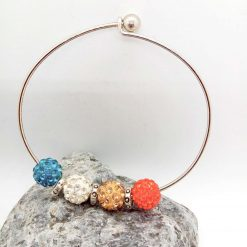 Red Mocha White Teal Shamballa Bead Bracelet with Silver Plated Spacers, Gift for Her 11