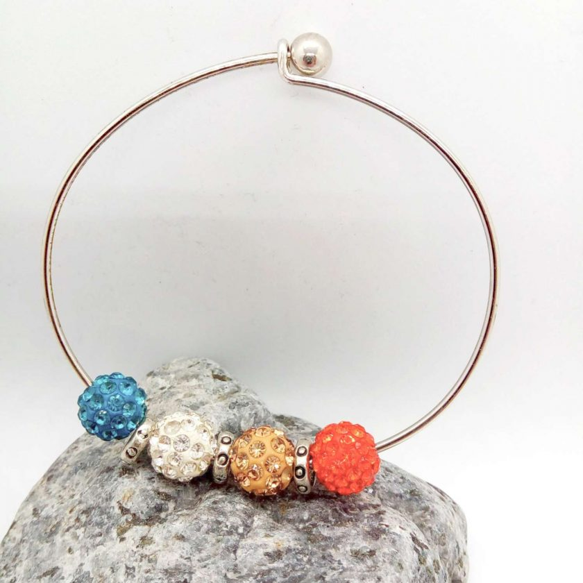 Red Mocha White Teal Shamballa Bead Bracelet with Silver Plated Spacers, Gift for Her 6