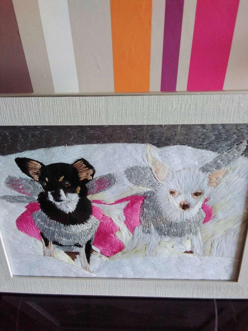 pet portrait thread painting. Commisions artist. 4