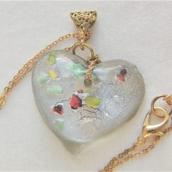 Clear Glass Heart Shaped Pendant with Green Yellow & Red Flecks on a Gold Plate Chain, Gift for Her 7