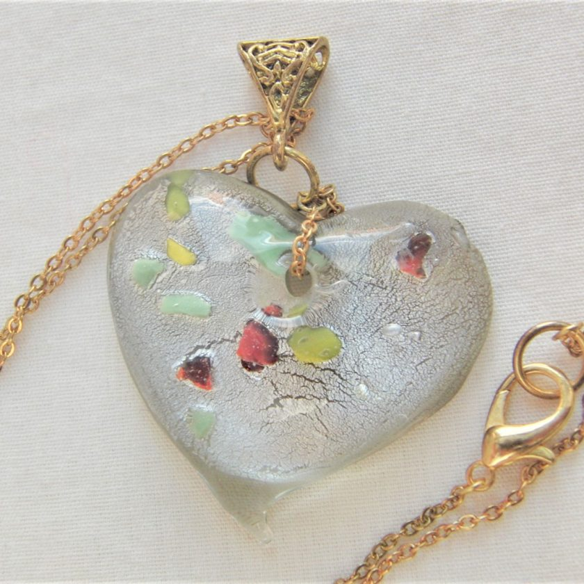 Clear Glass Heart Shaped Pendant with Green Yellow & Red Flecks on a Gold Plate Chain, Gift for Her 2