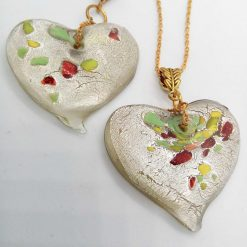 Clear Glass Heart Shaped Pendant with Green Yellow & Red Flecks on a Gold Plate Chain, Gift for Her 8