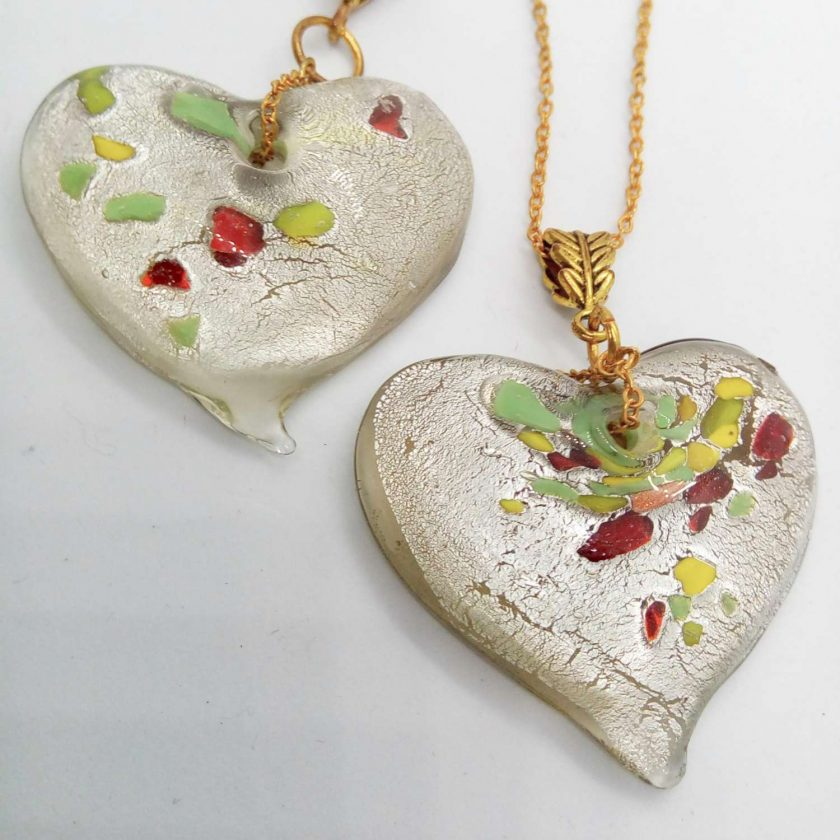 Clear Glass Heart Shaped Pendant with Green Yellow & Red Flecks on a Gold Plate Chain, Gift for Her 3