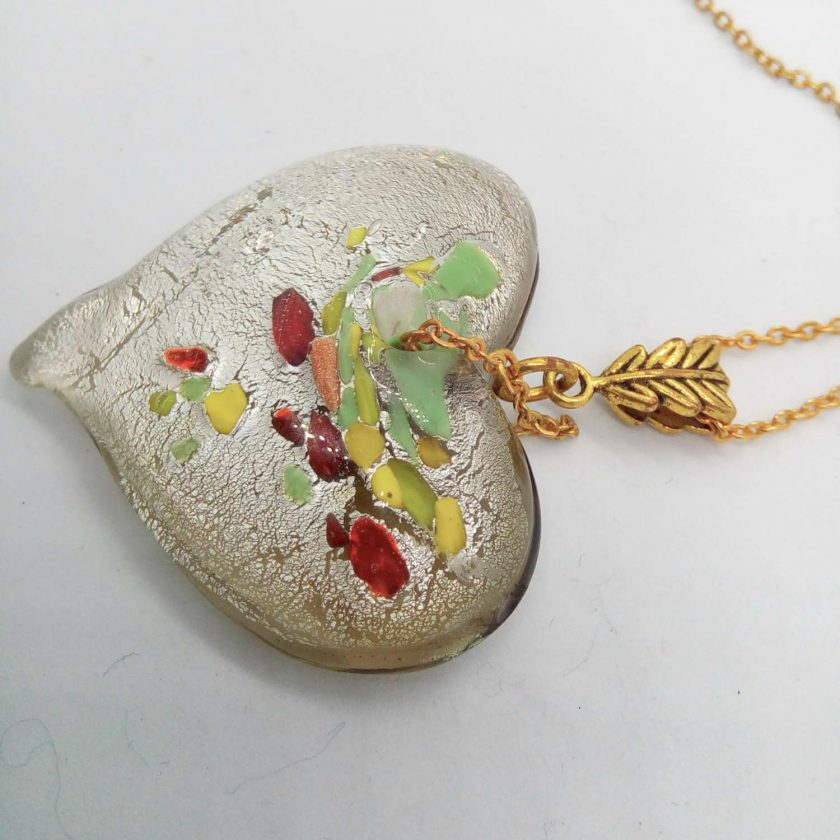 Clear Glass Heart Shaped Pendant with Green Yellow & Red Flecks on a Gold Plate Chain, Gift for Her 4