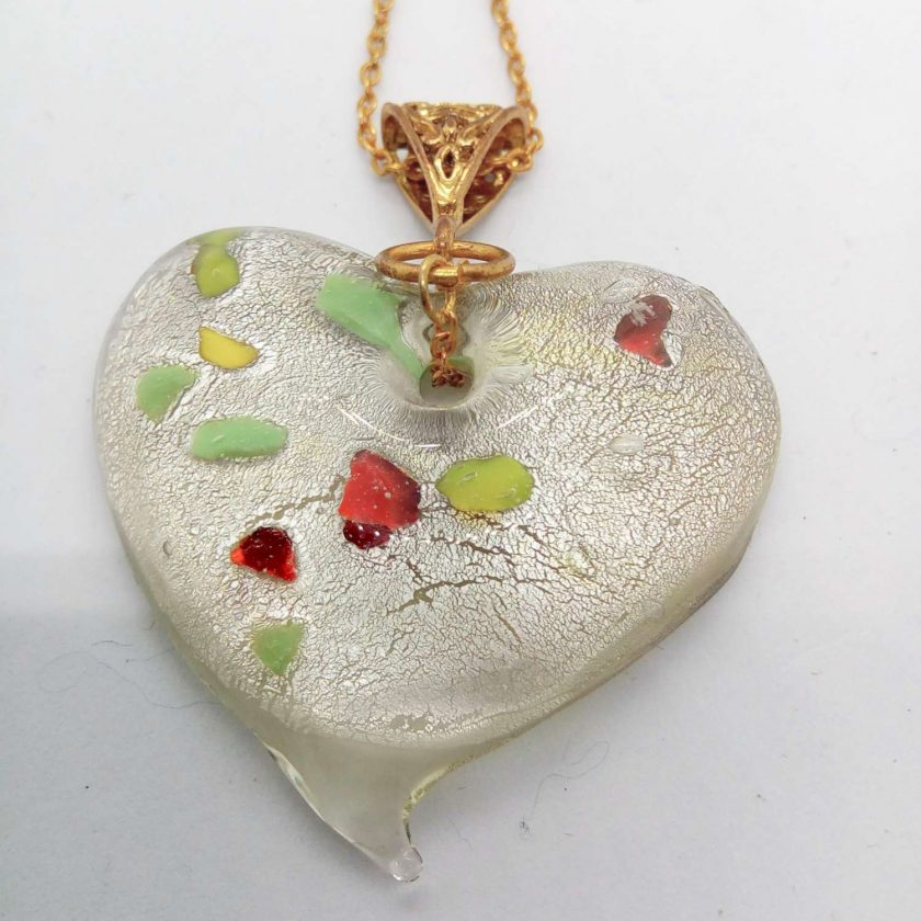Clear Glass Heart Shaped Pendant with Green Yellow & Red Flecks on a Gold Plate Chain, Gift for Her 5