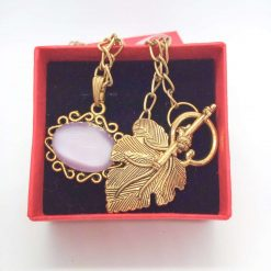 Lilac Glass Cabochon in a Gold Plated Setting on a Gold Plated Chain, Gift for Her 7