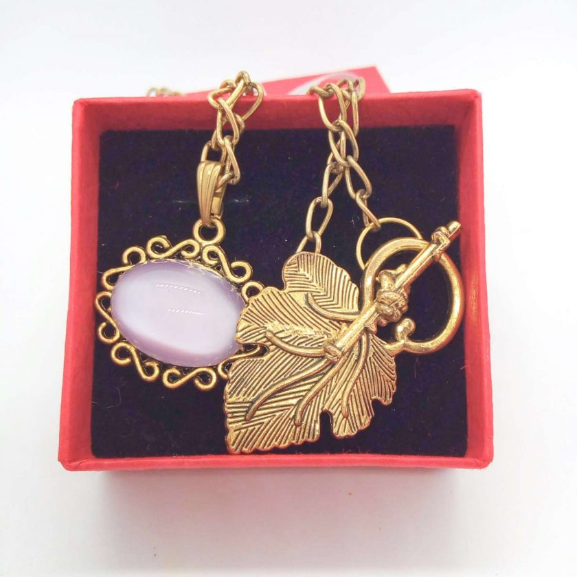 Lilac Glass Cabochon in a Gold Plated Setting on a Gold Plated Chain, Gift for Her 2