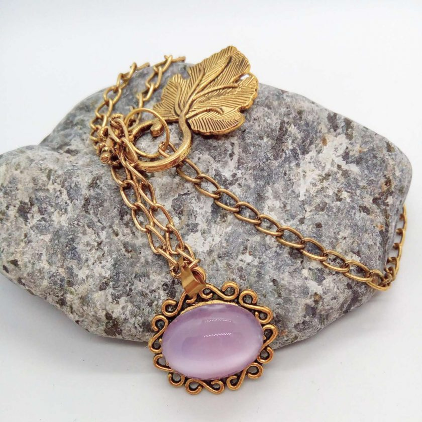 Lilac Glass Cabochon in a Gold Plated Setting on a Gold Plated Chain, Gift for Her 1