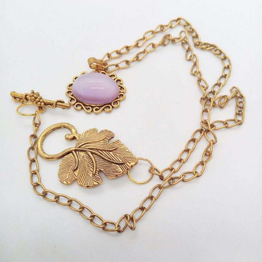 Lilac Glass Cabochon in a Gold Plated Setting on a Gold Plated Chain, Gift for Her 6