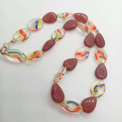 Necklace Made With Purple Teardrop Beads and Rainbow Striped Oval Glass Beads, Gift for Her 7