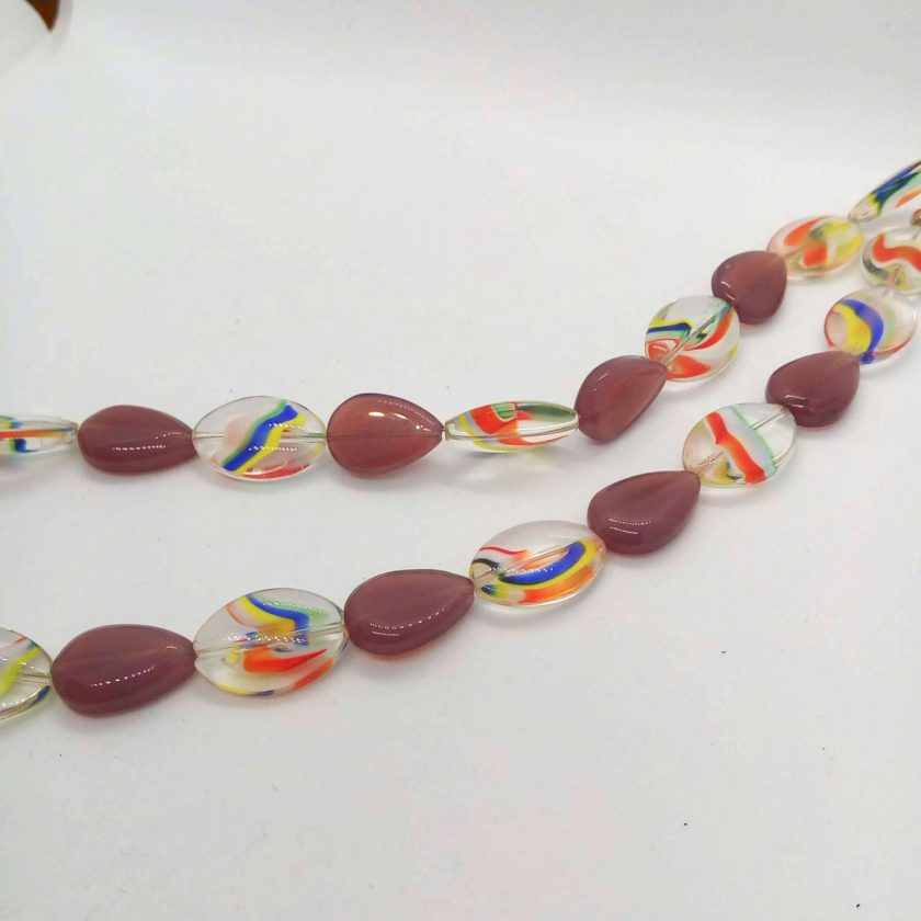Necklace Made With Purple Teardrop Beads and Rainbow Striped Oval Glass Beads, Gift for Her 3