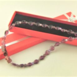 Beaded Necklace Made With Purple Heart and Glass Beads, Gift for Her 6