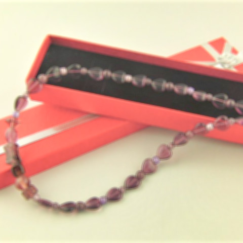 Beaded Necklace Made With Purple Heart and Glass Beads, Gift for Her 2