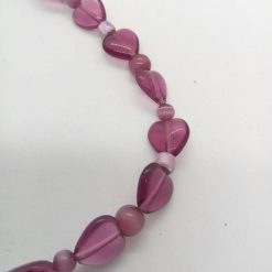 Beaded Necklace Made With Purple Heart and Glass Beads, Gift for Her 8