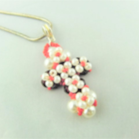 Hand Sewn Beaded Cross Pendant Made With Red Crystals and Cream Pearls, Gift for Her 2