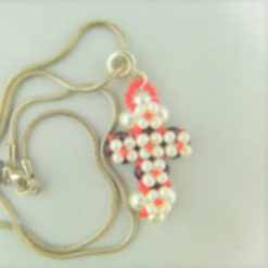 Hand Sewn Beaded Cross Pendant Made With Red Crystals and Cream Pearls, Gift for Her 8