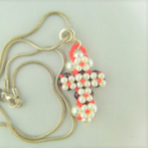 Hand Sewn Beaded Cross Pendant Made With Red Crystals and Cream Pearls, Gift for Her 3