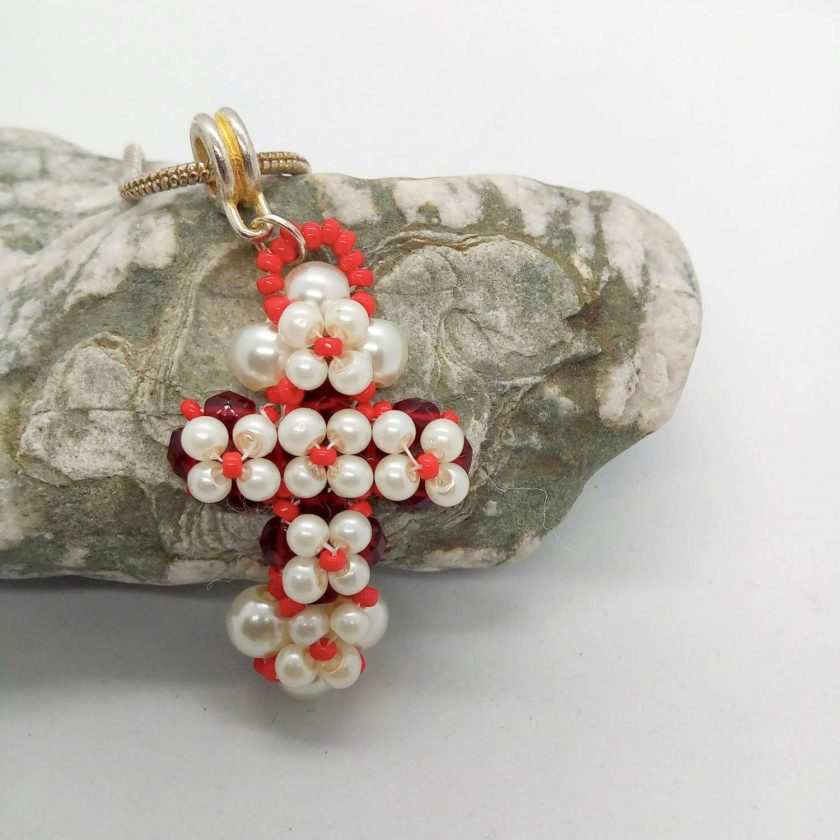 Hand Sewn Beaded Cross Pendant Made With Red Crystals and Cream Pearls, Gift for Her 4