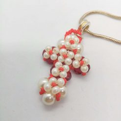Hand Sewn Beaded Cross Pendant Made With Red Crystals and Cream Pearls, Gift for Her 10