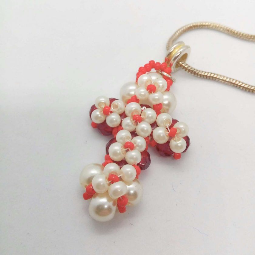 Hand Sewn Beaded Cross Pendant Made With Red Crystals and Cream Pearls, Gift for Her 1