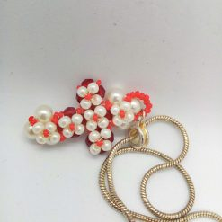 Hand Sewn Beaded Cross Pendant Made With Red Crystals and Cream Pearls, Gift for Her 11