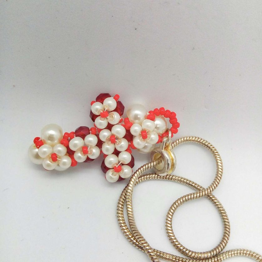 Hand Sewn Beaded Cross Pendant Made With Red Crystals and Cream Pearls, Gift for Her 6
