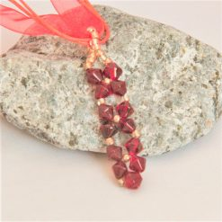 Hand Sewn Crystal Beaded Pendant Necklace with Choice of Crystal Colour, Gift for Her 9