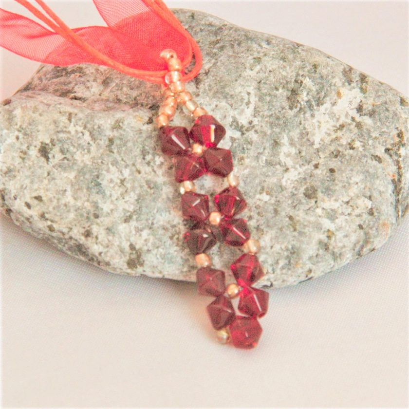 Hand Sewn Crystal Beaded Pendant Necklace with Choice of Crystal Colour, Gift for Her 1