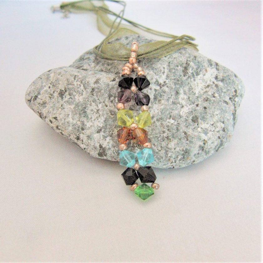Hand Sewn Crystal Beaded Pendant Necklace with Choice of Crystal Colour, Gift for Her 5