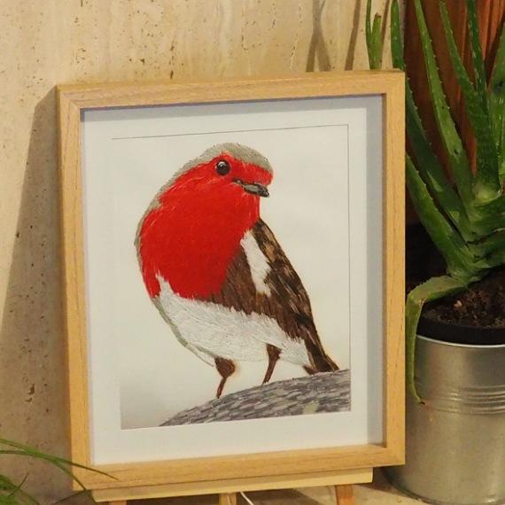 robin threadpainting. Artwork. Home decore. 1