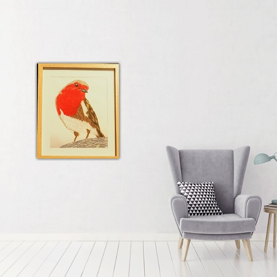 robin threadpainting. Artwork. Home decore. 2
