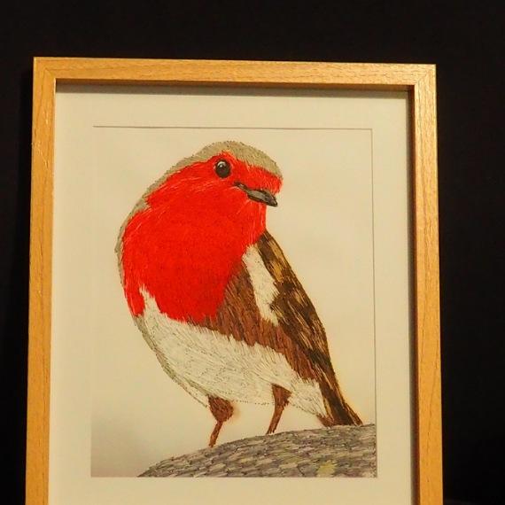 robin threadpainting. Artwork. Home decore. 3