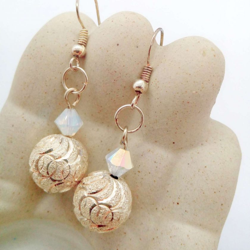Silver Patterned Bead and White Opaque Crystal Bead Earrings for Pierced Ears, Gift for Her 1