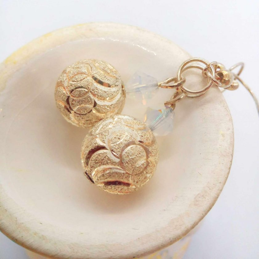 Silver Patterned Bead and White Opaque Crystal Bead Earrings for Pierced Ears, Gift for Her 5