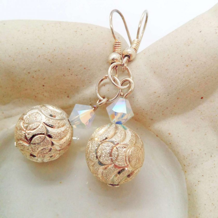 Silver Patterned Bead and White Opaque Crystal Bead Earrings for Pierced Ears, Gift for Her 6