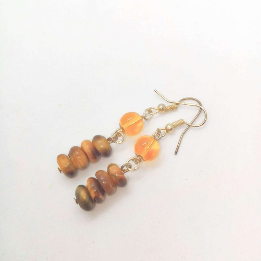 Earrings Made Using Tigers Eye Rondelle Beads and Round Amber Glass Beads, Golden Brown Earrings, Gift for Her 2