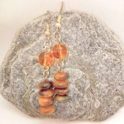 Earrings Made Using Tigers Eye Rondelle Beads and Round Amber Glass Beads, Golden Brown Earrings, Gift for Her 8