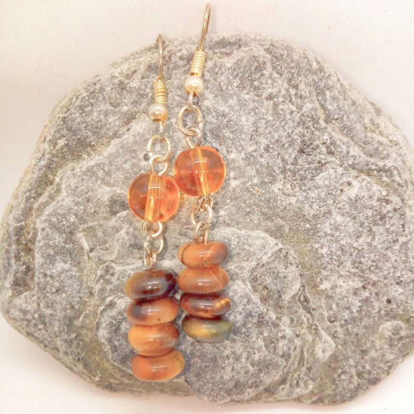Earrings Made Using Tigers Eye Rondelle Beads and Round Amber Glass Beads, Golden Brown Earrings, Gift for Her 1