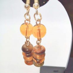 Earrings Made Using Tigers Eye Rondelle Beads and Round Amber Glass Beads, Golden Brown Earrings, Gift for Her 9