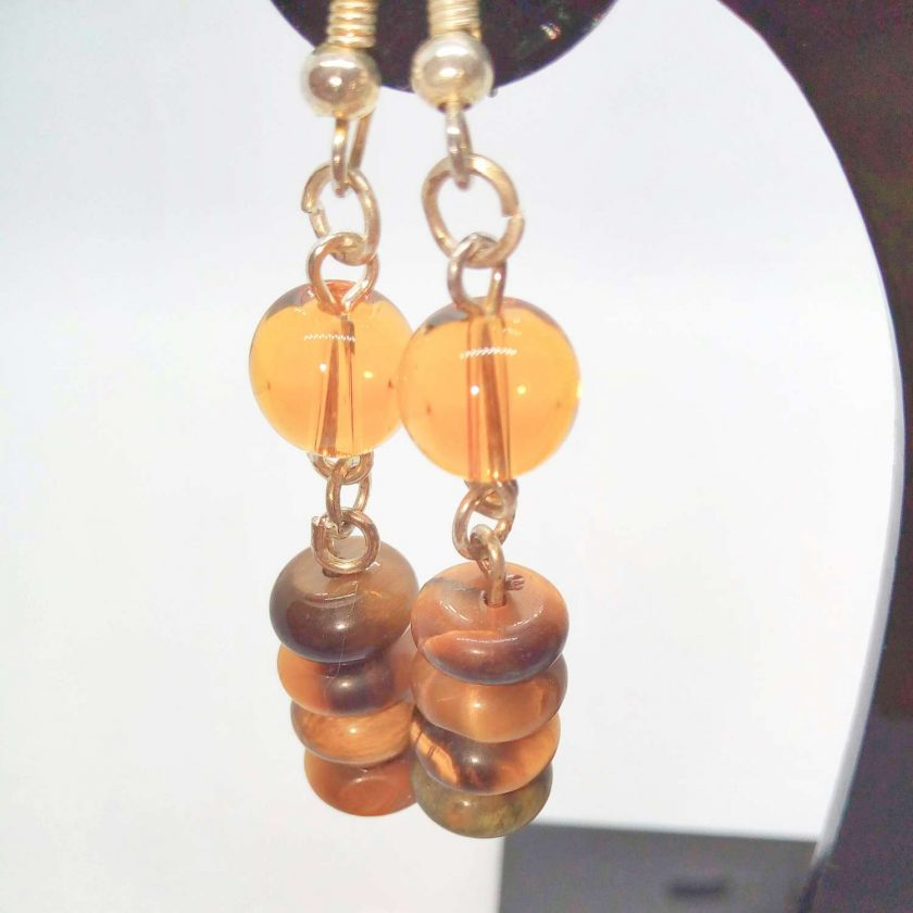 Earrings Made Using Tigers Eye Rondelle Beads and Round Amber Glass Beads, Golden Brown Earrings, Gift for Her 4