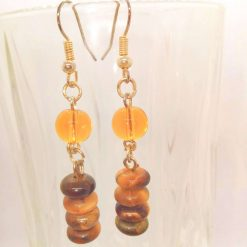 Earrings Made Using Tigers Eye Rondelle Beads and Round Amber Glass Beads, Golden Brown Earrings, Gift for Her 10