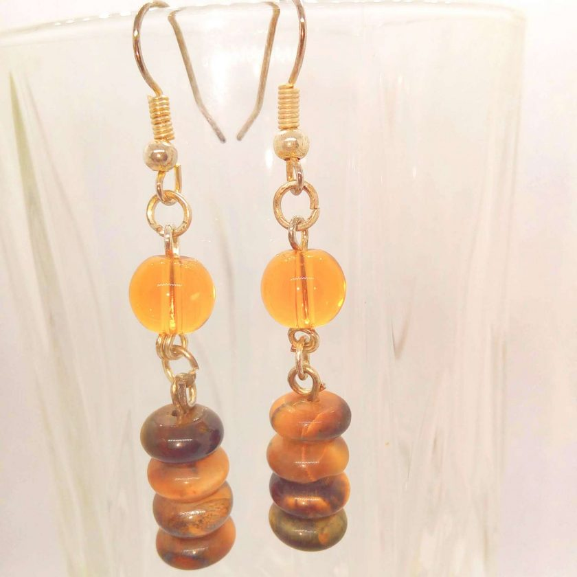 Earrings Made Using Tigers Eye Rondelle Beads and Round Amber Glass Beads, Golden Brown Earrings, Gift for Her 5