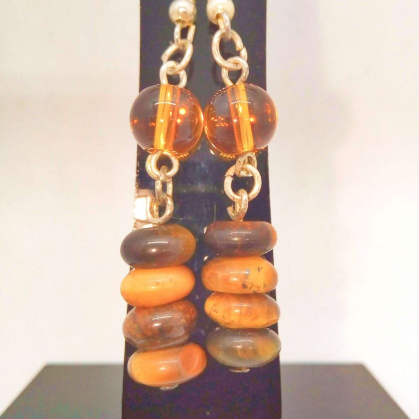 Earrings Made Using Tigers Eye Rondelle Beads and Round Amber Glass Beads, Golden Brown Earrings, Gift for Her 6
