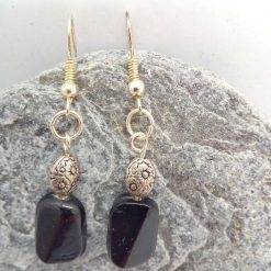 Black Ceramic Faceted Rectangle Bead Earrings With Silver Spacer Bead, Black and Silver Earrings, Gift for Her 6