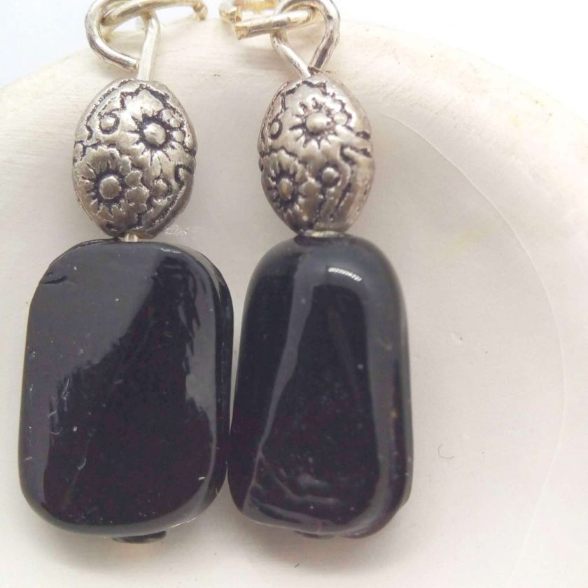 Black Ceramic Faceted Rectangle Bead Earrings With Silver Spacer Bead, Black and Silver Earrings, Gift for Her 3