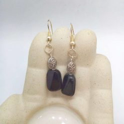 Black Ceramic Faceted Rectangle Bead Earrings With Silver Spacer Bead, Black and Silver Earrings, Gift for Her 8