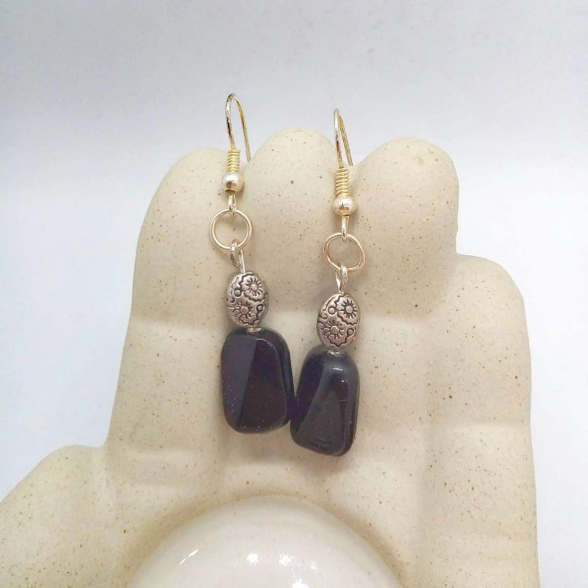 Black Ceramic Faceted Rectangle Bead Earrings With Silver Spacer Bead, Black and Silver Earrings, Gift for Her 4